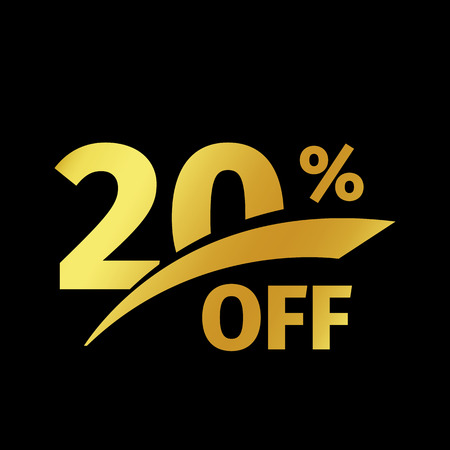 Black banner discount purchase 20 percent sale vector gold logo on a black background. Promotional business offer for buyers logotype. Twenty percentage off, discounts in the strict style coupon.