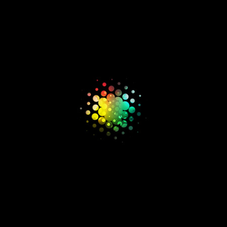 rainbow abstract: Isolated abstract colorful bubbles logo, technology logotype on black background vector illustration