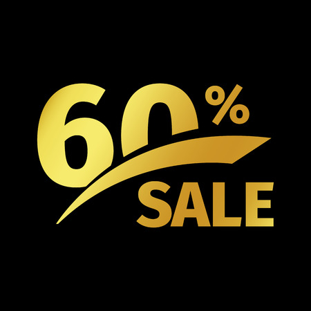 Black banner discount purchase 60 percent sale vector gold logo on a black background. Promotional business offer for buyers logotype. Sixty percentage off, discounts in the strict style coupon.