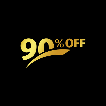 additional: Black banner discount purchase 90 percent sale vector gold logo on a black background. Promotional business offer for buyers logotype. Ninty percentage off, discounts in the strict style coupon.