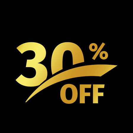 Black banner discount purchase 30 percent sale vector gold logo on a black background. Promotional business offer for buyers logotype. Thirty percentage off, discounts in the strict style coupon.