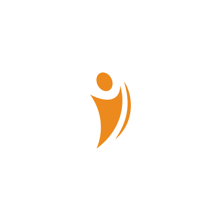 Isolated abstract orange color human body in motion silhouette logo on white background vector illustration Illustration