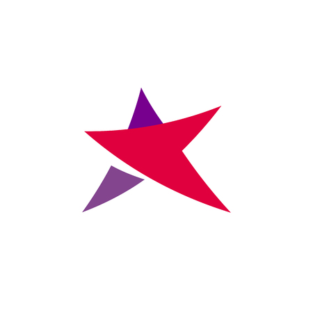 Fantastic isolated simple flat red and violet color star logo of unusual shape. Vector logotype and icon of the abstract form.