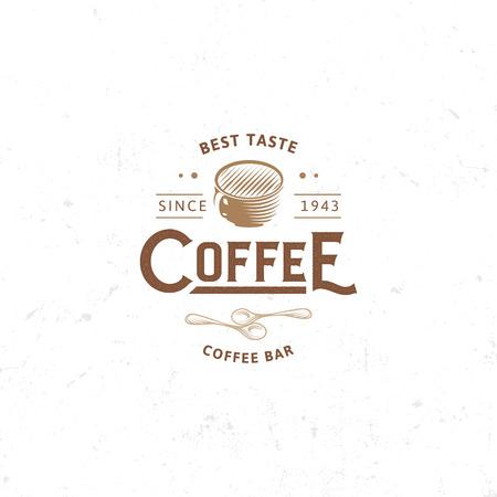 Emblema oscuro del café de la vendimia, ejemplo retro plano. Marrón y beige colorean la muestra. Sello estilizado de la bebida de las letras del vector. Logotipo del café del desayuno.