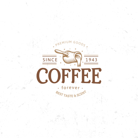 brewed: Vintage dark coffee emblem, flat retro illustration. Brown and beige colors sign. Stylized stamp of vector lettering drink. Breakfast cafe logo. Illustration