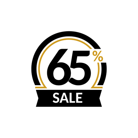 Discount card with 65 percent sale. Advertising Sale vector isolated sign. Promotion Stylish logo design under the black and gold arch.