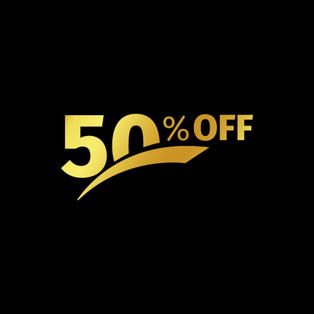 additional: Black banner discount purchase 50 percent sale vector gold logo on a black background. Promotional business offer for buyers logotype. Fifty percentage off, discounts in the strict style coupon.