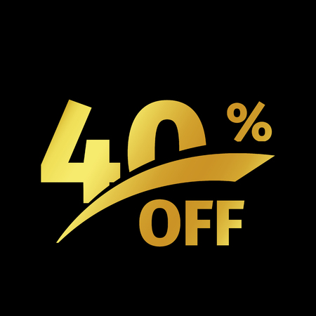 Black banner discount purchase 40 percent sale vector gold logo on a black background. Promotional business offer for buyers logotype. Forty percentage off, discounts in the strict style coupon. Ilustração