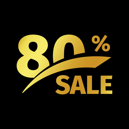 Black banner discount purchase 80 percent sale vector gold logo on a black background. Promotional business offer for buyers logotype. Eighty percentage off, discounts in the strict style coupon.