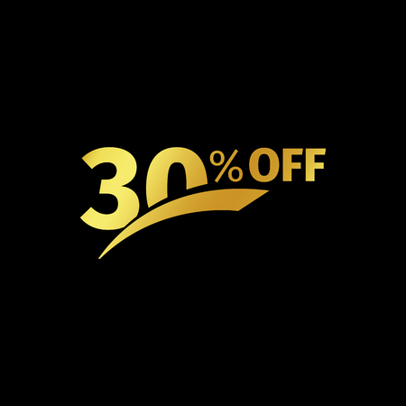 numbers background: Black banner discount purchase 30 percent sale vector gold logo on a black background. Promotional business offer for buyers logotype. Thirty percentage off, discounts in the strict style coupon.