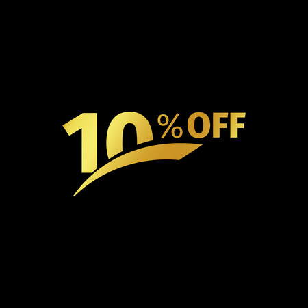 additional: Black banner discount purchase 10 percent sale vector gold logo on a black background. Promotional business offer for buyers logotype. Ten percentage off, discounts in the strict style coupon. Illustration