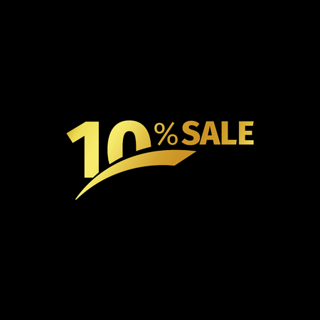 exclusive: Black banner discount purchase 10 percent sale vector gold logo on a black background. Promotional business offer for buyers logotype. Ten percentage off, discounts in the strict style coupon. Illustration