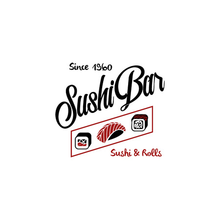 soy: Vector logo and emblem for restaurants of Japanese food in a retro style with lettering and icon and shape of sushi, roll. Illustration