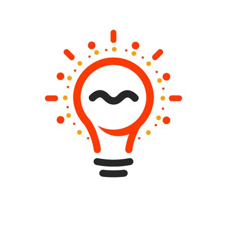 Ampoules de vecteur avec la ligne, les points et le logo de faisceau. Nouveau symbole d'idée, logotypes colorés. Ampoule de dessin animé lumineux abstraite plat. Signe de couleurs blanc, noir, orange. Icône de cercle d'idée