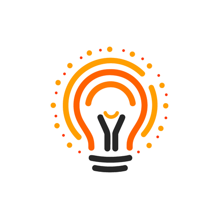 Vector lightbulbs with line, dots and beam logo. New idea symbol, colorful logotypes. Flat abstract bright cartoon bulb. White, black, orange colors sign. Idea circle icon 向量圖像