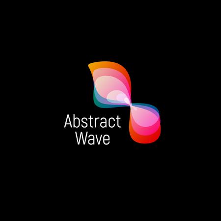 ameba: Logotipo abstracto ondulado del vector. Gradientes suaves y coloridas formas oval cósmicas y de alta tecnología Vectores