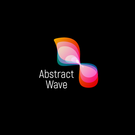 micro organism: Wavy abstract vector logo. Smooth gradients and colorful cosmic and high technology oval shapes