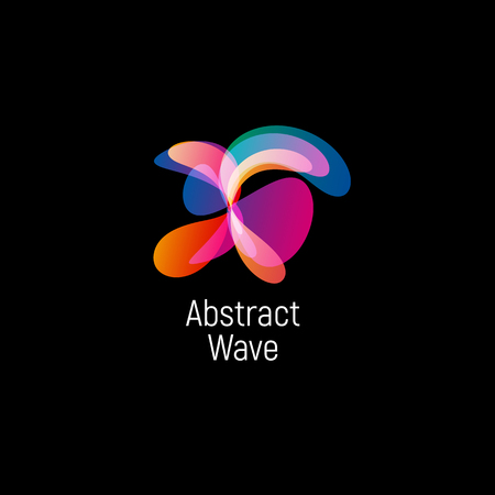 Wavy abstract vector logo. Smooth gradients and colorful cosmic and high technology oval shapes