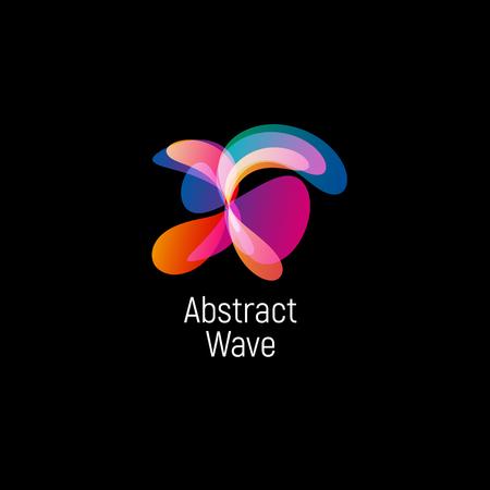 Logo vettoriale astratto ondulato. Gradienti lisci e forme ovali cosmiche e ad alta tecnologia colorate