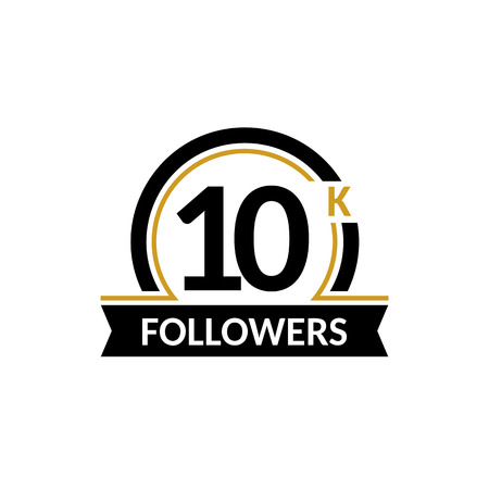 subscriber: 10000 followers and friends, 10K anniversary congratulations design banner template. Black and gold vector illustration