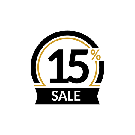 number 15: Discount card with 15 percent sale. Advertising Sale vector isolated sign. Promotion Stylish logo design under the black and gold arch