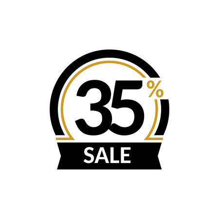 Discount card with 35 percent sale. Advertising Sale vector isolated sign. Promotion Stylish logo design under the black and gold arch Illustration