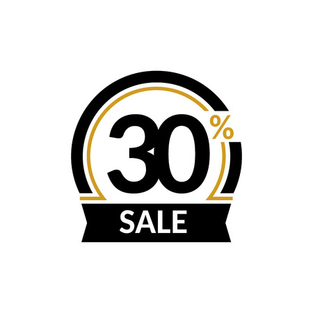 thirty percent off: Discount card with 30 percent sale. Advertising Sale vector isolated sign. Promotion Stylish logo design under the black and gold arch
