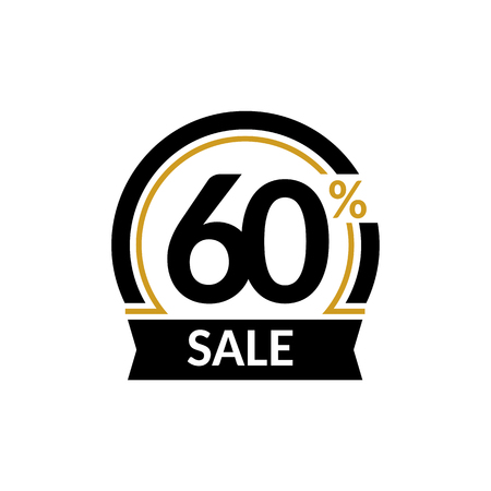 Discount card with 60 percent sale. Advertising Sale vector isolated sign. Promotion Stylish logo design under the black and gold arch