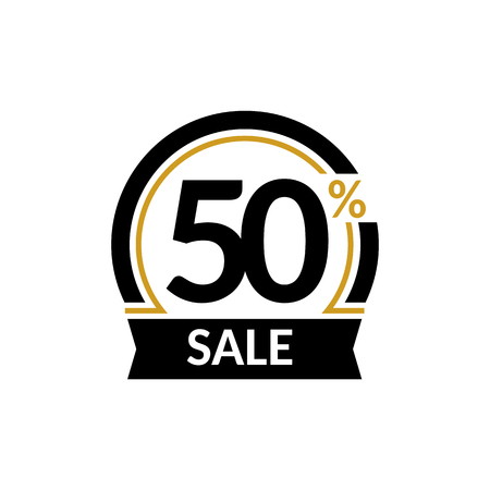Discount card with 50 percent sale. Advertising Sale vector isolated sign. Promotion Stylish logo design under the black and gold arch Vectores