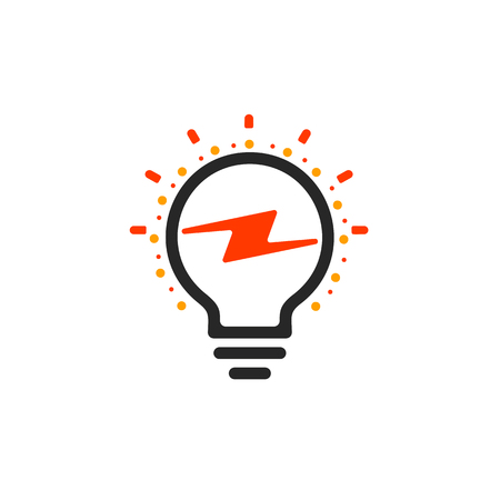 queries: New question mark symbol, flat bright cartoon bulb. White and orange colors sign. Stylized vector lightbulb colorful logotype. Query icon, circle line logo. Illustration