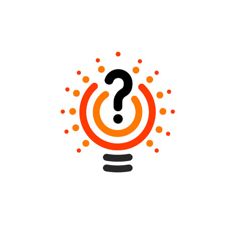 New question mark symbol, flat bright cartoon bulb. White and orange colors sign. Stylized vector lightbulb colorful logotype. Query icon, circle line logo. Illustration