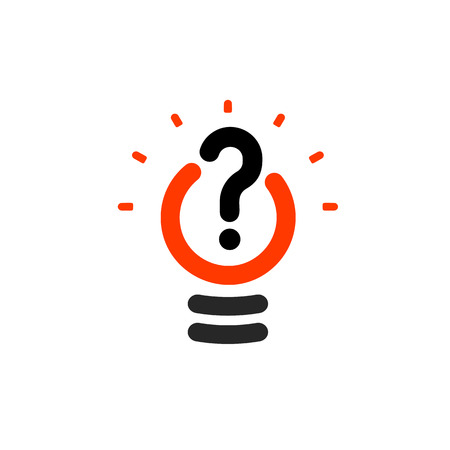 interrogative: New question mark symbol, flat bright cartoon bulb. White and orange colors sign. Stylized vector lightbulb colorful logotype. Query icon, circle line logo. Vectores