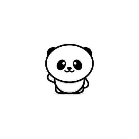 goodness: Cute Panda welcomes waving his hand vector illustration, Baby Bear logo, new design line art, Chinese Teddy-bear Black color sign, simple image, picture with animal