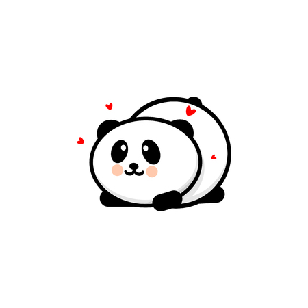 Cute Panda in love and played vector illustration, Baby Bear logo, new design line art, Chinese Teddy-bear Black color sign, simple image, picture with animal and hearts Illustration