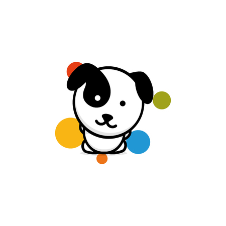 Cute Dog with colorful balls vector illustration, Baby Puppy logo, new design art, Pet Black color sign, simple image, picture with animal.