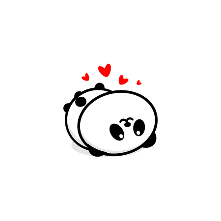 goodness: Cute Panda In love and rest vector illustration, Baby Bear logo, new design line art, Chinese Teddy-bear Black color sign, simple image, picture with animal played.