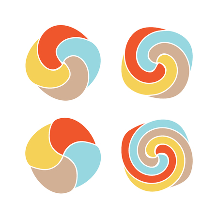 Lollipops colorful vector logo set. Candy simple design top view icons collection