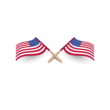 United States of America windy waving flag crossed template with shadow 3d vector illustration eps10 on white background. Illustration