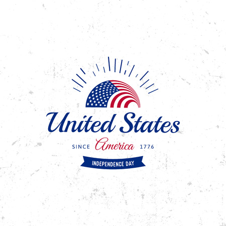 windy day: United States of North America Vector  Vintage simple style. Independence day national holiday icon. Blue and red colors USA windy flag. Retro style lettering Stock Photo