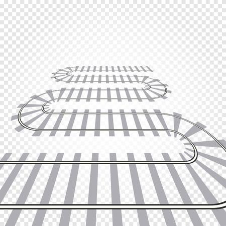 highspeed: Rail railroad track vector illustration. Railway train isolated. Winding path road