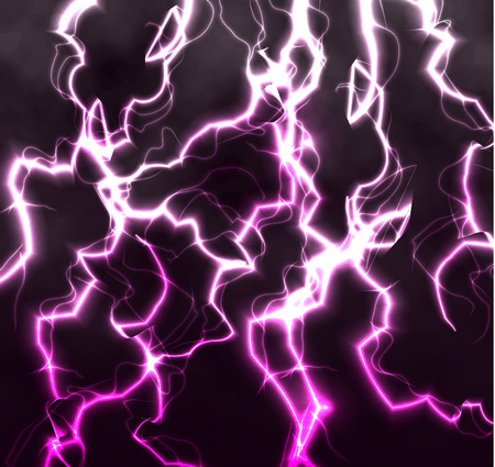 high voltage: Bright realistic flash of lightning in the black sky, abstract vector background shining lightnings crossing each other. Unusual texture of electric rays and high voltage illustration Illustration