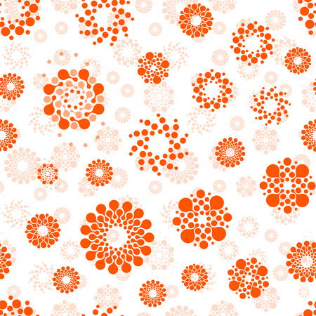 Abstract suns seamless circles design pattern unusual. Vector isolated repeatable round shapes background. Universe futuristic metaball dots wallpaper