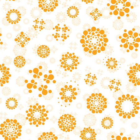 Abstract sunny seamless circles design pattern unusual. Vector isolated repeatable round shapes background. Universe futuristic metaball dots wallpaper Çizim