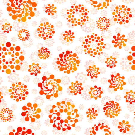 Orange color abstract seamless circles design pattern unusual. Vector isolated repeatable round shapes background. Universe futuristic metaball dots wallpaper Stok Fotoğraf - 81066255
