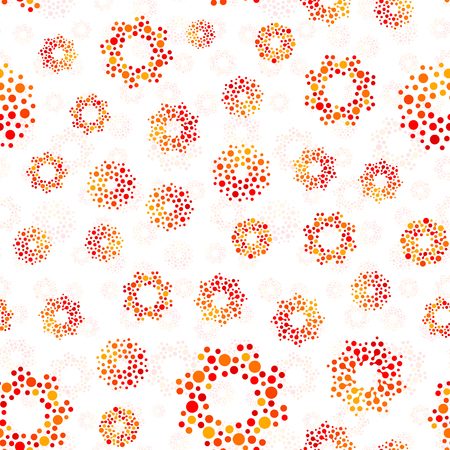 Orange color abstract seamless circles design pattern unusual. Vector isolated repeatable round shapes background. Universe futuristic metaball dots wallpaper