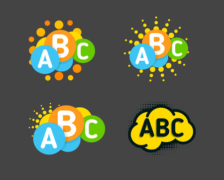 Creative children colorful brain with abc signs and orange sun. Vector isolated logo