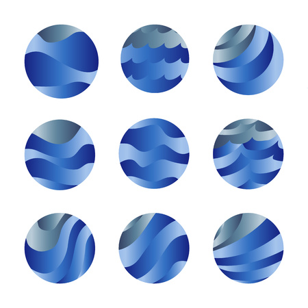 shaft: Abstract isolated blue color ocean waves and sky clouds logos set. Water stylized vector logotypes collection. Round shape liquid set.