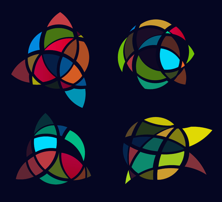 Cubism art picture logos set, colorful stained-glass window. Isolated abstract decorative logo set, ragged logo design element template on black background