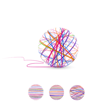 Tangle vectorillustratie. Ball of thread voor breien.