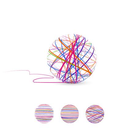 Tangle vector illustration. Ball of thread for knitting.